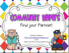 Free!! Community Helpers find your partner matching fun!!! ten frame, number activities, school stuff, teen number