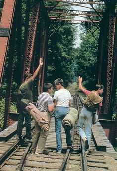Stand by Me (1986) Directed by Rob Reiner, starring Wil Wheaton, Corey Feldman, River Phoenix & Jerry O'Connel. Based on a Stephen King novella...the coming of age classic where four disadvantaged friends discover themselves along their journey to locate a dead boy's body for rewards. John Cusak and Keifer Sutherland also co-star.