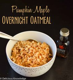 pumpkin maple overnight oatmeal made in the slow cooker
