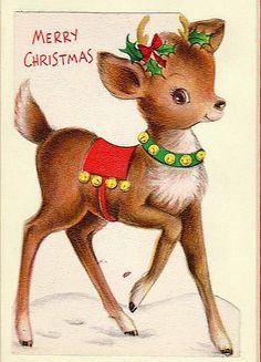 christma card, christmas wreaths, christmas cards, vintag christma, vintage christmas, vintag reindeer, ador reindeer, merri christma, christma reindeer
