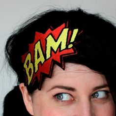 BAM Headband Comic Book Fascinator Red and Yellow par JanineBasil, £15.00