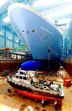 Quantum of the Seas getting ready to exit the building hall. http://www.premiercustomtravel.com/cruises/royalcaribbean.html #Travel #Cruising #RoyalCaribbean #QuantamOfTheSeas #Build