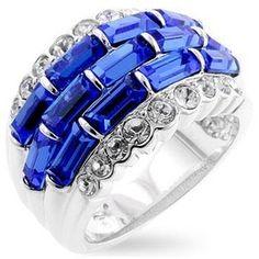 Blue Cubic Zirconia Ring