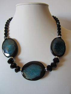 Blue and black Agate Necklace with free pair of by yasmi65 on Etsy, $32.00