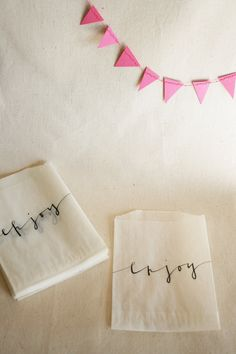 Glassine Favor Bags with Custom Calligraphy