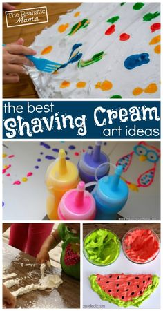 Shaving Cream Art - great sensory play for preschoolers. Tons of great ideas here.