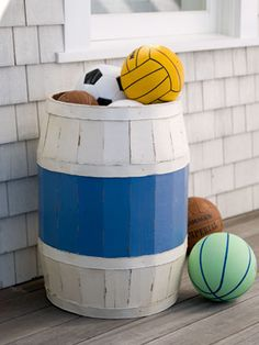 This wooden container provides storage for items as diverse as pool toys and stuffed animals for your kid's room.