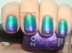 Zoya Ivanka, OPI Catch Me In Your Net, and Zoya Mimi. purple, nail colors, peacock nail, gradient nails, beauti, teal, peacock colors, green nails, blues