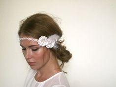Ivory Peal Flower Feather Lace 1920s Headband - Great Gatsby Headband