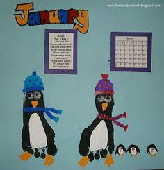 Handprint and Footprint Art : Footprint Penguins for January- Handprint Calendar 2