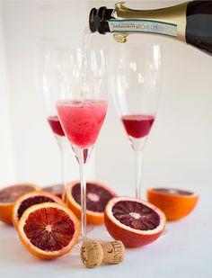 Blood orange bellinis are the perfect brunch drink! Recipe on tablefortwoblog.com
