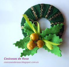Las Cosicosas de Rosa: Corona de Navidad.   #broche #fieltro #Navidad