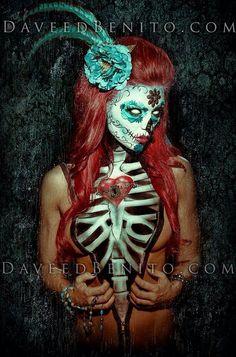 Sugar skull body art  www.LoveOnlineToday.com