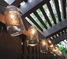 Fun meets function with these Mason jar patio lights on the newly designed pergola in Carly Swift's back yard.  (Frank Espich/The Star)