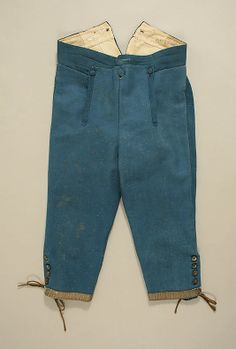 Breeches, man's at-home ensemble of banyan, waistcoat and breeches, Europe, second half 18th century. Banyan and waistcoat made of cream, yellow and blue striped silk, lined with linen; breeches: blue wool.