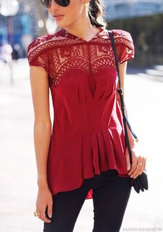 Red Lace Inset Shirt