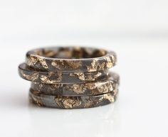 Resin Stacking Ring Black Gold Flakes Thin Small Ring OOAK dark gray glam minimalist jewelry