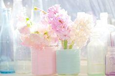 Easy DIY - Pastel wrapped mason jars and fragrant fresh cut flowers.