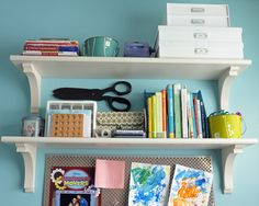 diy stair tread shelves from teal and lime