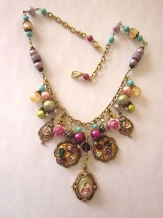 Pearl and Glass Statement Necklace by JeepersKeepers on Etsy