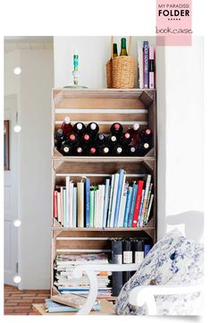 Bookcase made by wooden crates