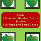 Here is the green apple letter and number cards in a bundle.   The Bundle includes the Green Apple Full Page Alphabet Letter Cards Uppercase and Lo...