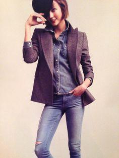Karlie Kloss  Denim on denim paired with a wool blazer  Love her, love this