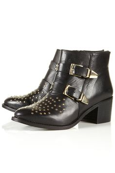 Black leather double strap ankle boots with gold buckles and stud detail