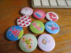 Princess button badges. Happy birthday button badges. Butterfly buttonbadges. Fairy button badges. Cute badges for girls.