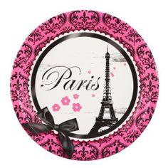 Paris Party Suppllies: Deluxe Dinner Plates 8 Pk
