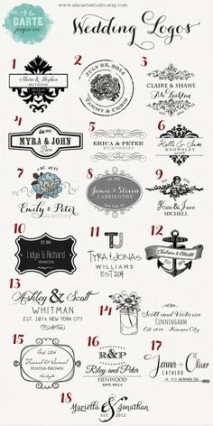 I love number 14!  Wedding Logos, Wedding Stamps, Wedding Monogram, Wedding Crest, Wedding emblem via Etsy