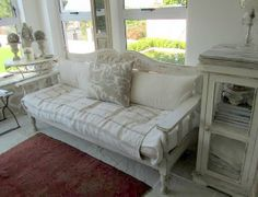 Yes, yes, yessss - have to have this sofa in the beach house (Ticking and Toile: ~is this your house?~)