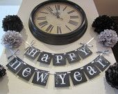 Happy New Year 2013 banner garland decoration wall hanging black and white, via Etsy.