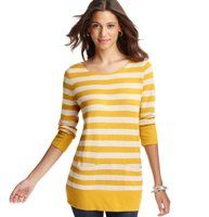 Striped Tie Back 3/4 Sleeve Tunic - Detailed with cute patch pockets and a pretty back neck tie, we love the body-elongating silhouette of this laid-back striped tunic style. 3/4 sleeves. Banded neckline. Patch pockets. Ribbed cuffs and hem. Grosgrain tie at back neck.