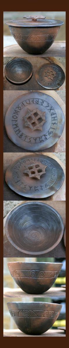 Smoke Fired Rune Pot by ~RowanSong on deviantART