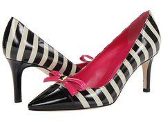 Kate Spade New York Jaci Black/Cream Stripe Patent Black Patent