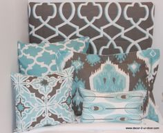 aqua and gray...GORGEOUS! makes great accent pillows for sofa!