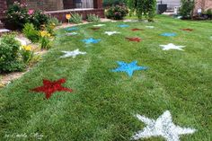 Painted 4th of July Lawn Stars