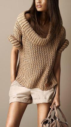 Oversize Cotton Sweater | Burberry       ♪ ♪ ... #inspiration #crochet  #knit #diy GB