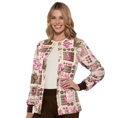 Cherokee Scrub H.Q. Women's Crew Neck Print Jacket in #pinkribbon print - Print name: Tree of Hope - 65% polyester, 35% cotton #Scrubs | allheart.com