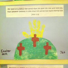Green finger-painted hill and yellow handprint sun... How sweet is this reminder of Easter?