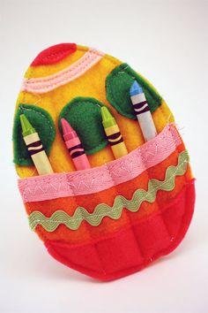 felt Easter egg crayon holders for little kid's table at Easter dinner