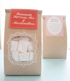 Recipe - Homemade Hot Cocoa Mix & Marshmallows. Free PDF Template for Gift Tags. Lovely packaging idea here.