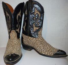 Vintage ACME Leopard Print Cowboy Boots