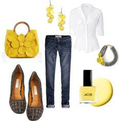 gray and yellow, created by cbaczuk on Polyvore