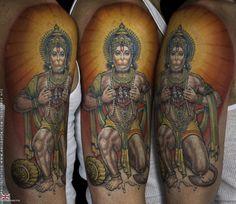 A remarkable Hanuman tattoo inked by elite tattoo artist Anil Gupta. www.anilgupta.com