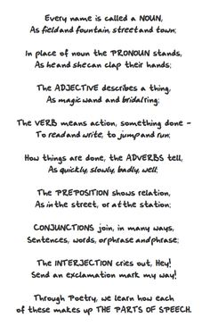 """FREE LANGUAGE ARTS LESSON - """"Parts of Speech Poem"""" - Go to The Best of Teacher Entrepreneurs for this and hundreds of free lessons.   http://thebestofteacherentrepreneurs.blogspot.com/2012/04/free-language-arts-lesson-parts-of.html"""