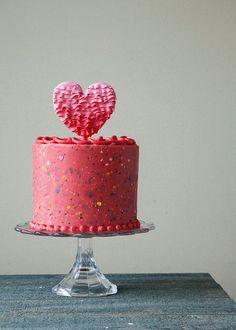 Strawberry Confetti cake recipe with Valentines cake topper.