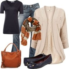 Black shirt, cream cardigan sweater, multicolor brown scarf outfit.