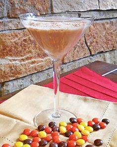 Reese's Pieces Martini {Godiva Chocolate Vodka, Frangelico, Half & Half, & Powdered Peanut Brittle}